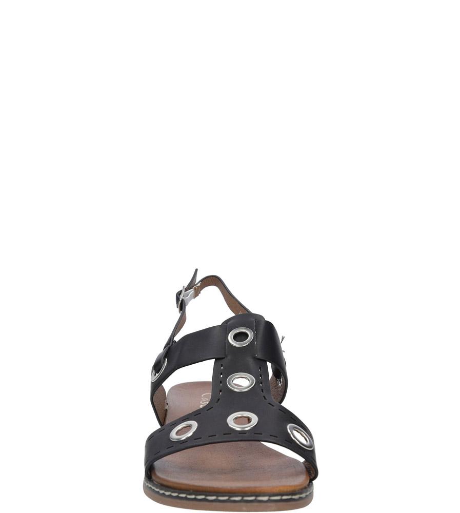 Czarne modne sandały z ozdobnymi metalowymi kółkami Casu K18X2/B kolor czarny