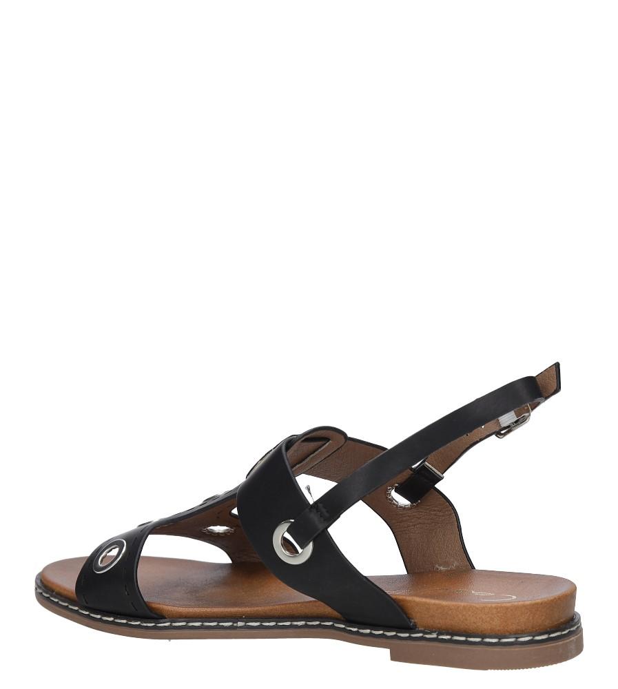 Czarne modne sandały z ozdobnymi metalowymi kółkami Casu K18X2/B wysokosc_obcasa 3.5 cm