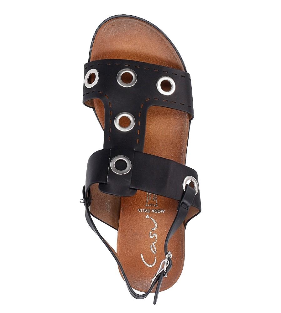 Czarne modne sandały z ozdobnymi metalowymi kółkami Casu K18X2/B wysokosc_platformy 2 cm