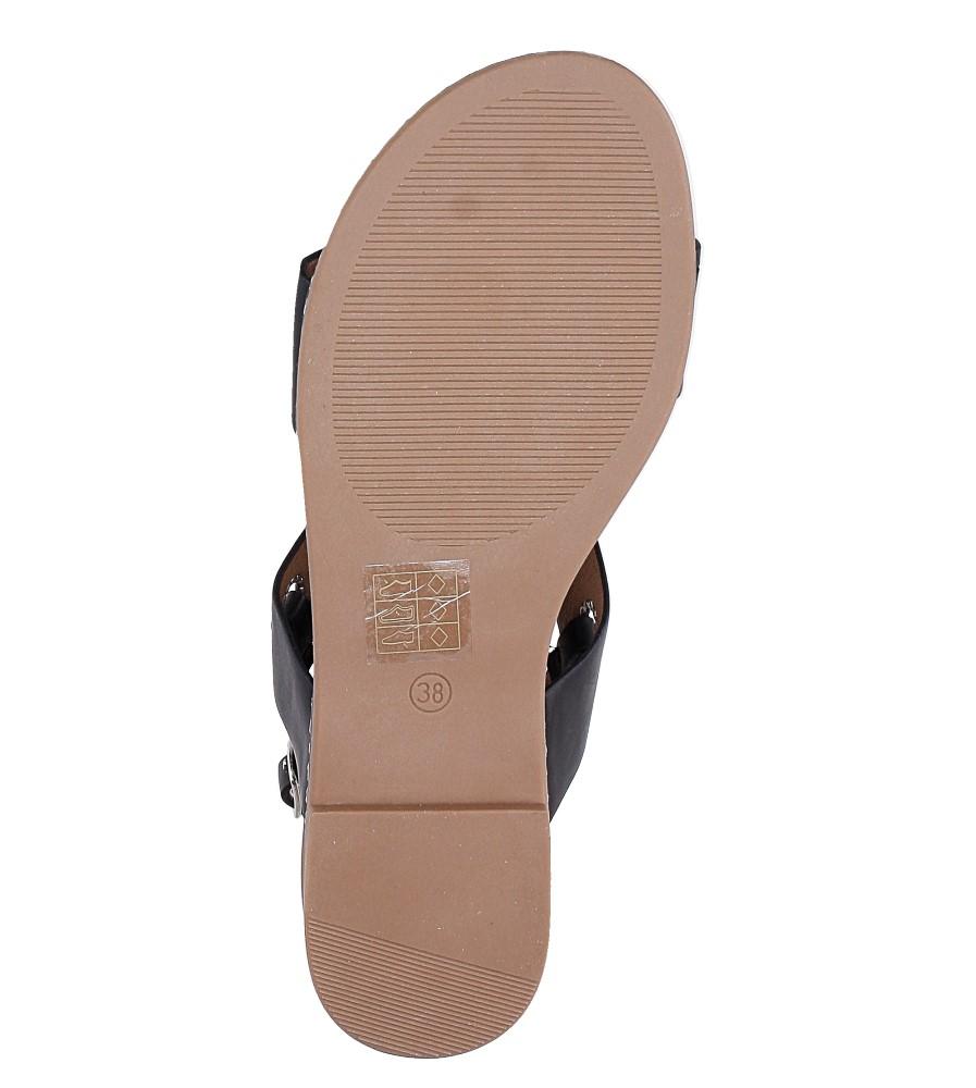 Czarne modne sandały z ozdobnymi metalowymi kółkami Casu K18X2/B wys_calkowita_buta 10.5 cm