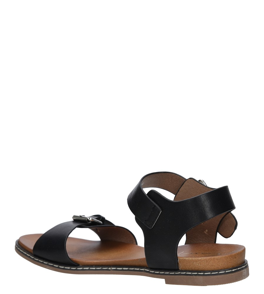 Czarne modne sandały ze srebrnymi klamrami Casu K18X12/B wysokosc_obcasa 2.5 cm