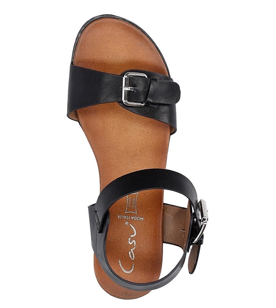 Czarne modne sandały ze srebrnymi klamrami Casu K18X12/B wysokosc_platformy 2 cm