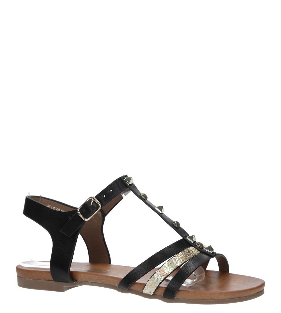 Czarne płaskie i lekkie sandały z dżetami Casu K18X3/B producent Casu