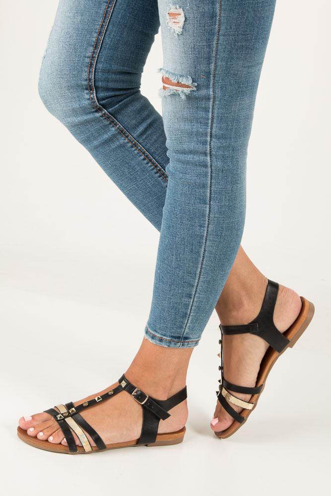 Czarne płaskie i lekkie sandały z dżetami Casu K18X3/B model K18X3/B