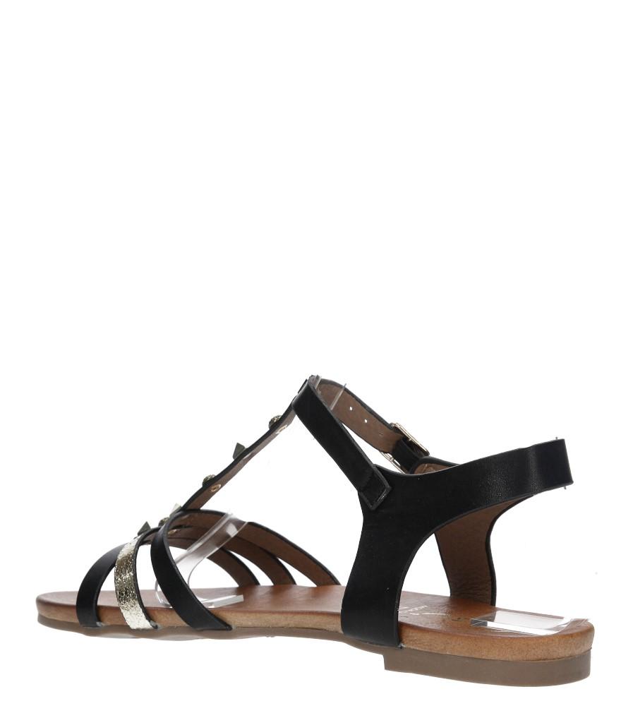 Czarne płaskie i lekkie sandały z dżetami Casu K18X3/B kolor czarny