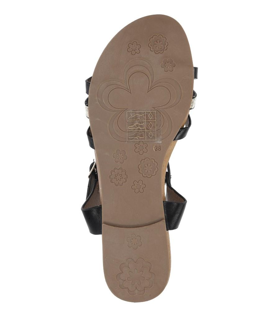 Czarne płaskie i lekkie sandały z dżetami Casu K18X3/B wysokosc_platformy 1 cm
