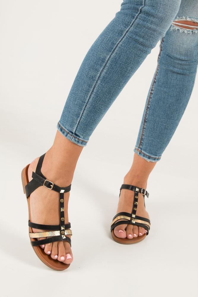 Czarne płaskie i lekkie sandały z dżetami Casu K18X3/B wys_calkowita_buta 11 cm