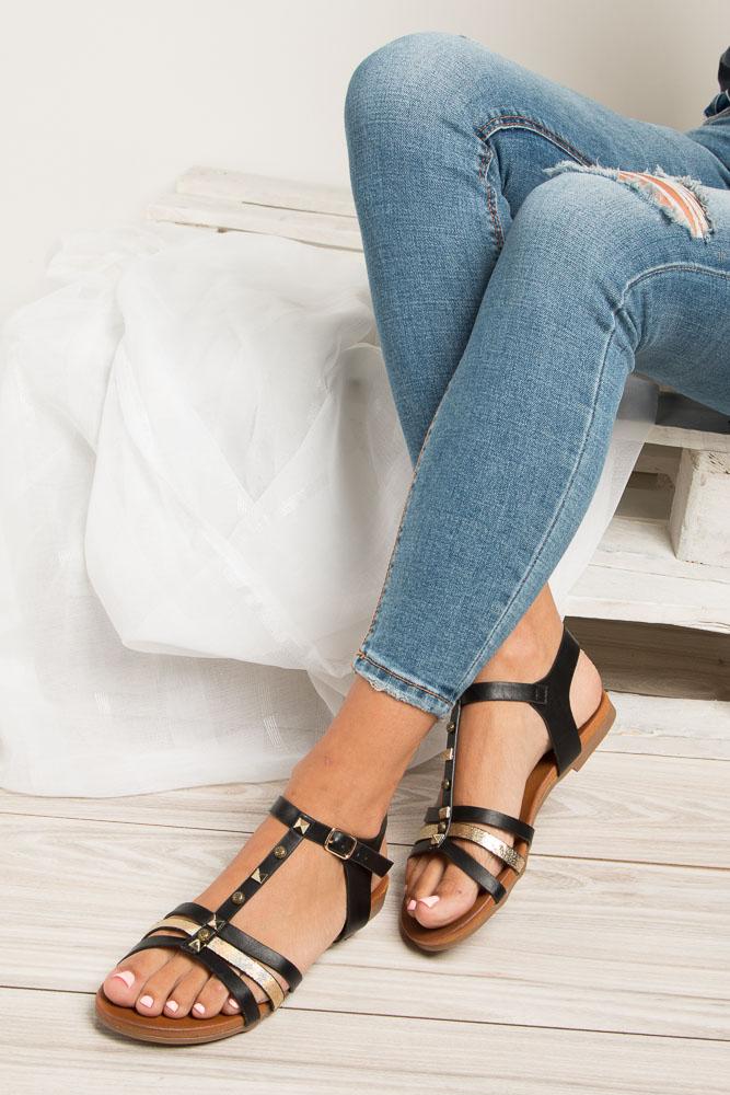 Czarne płaskie i lekkie sandały z dżetami Casu K18X3/B wnetrze skóra ekologiczna
