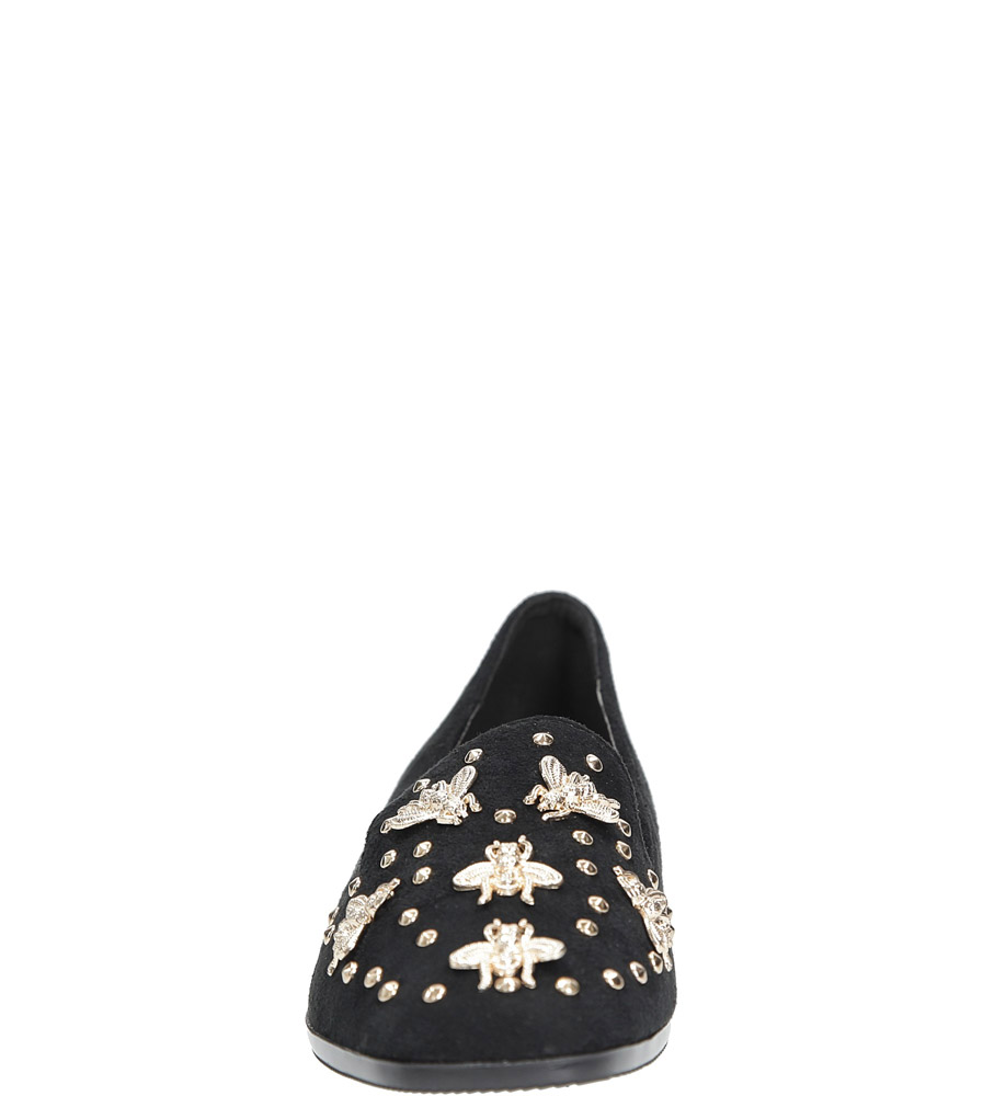 Czarne półbuty lordsy z metalową ozdobą Casu 68-97 kolor czarny