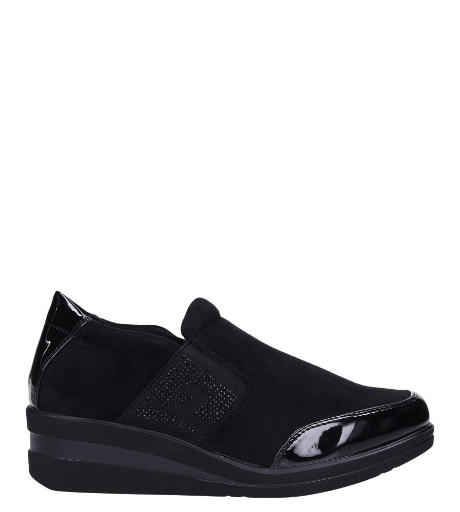 Czarne półbuty na koturnie z gumką Sergio Leone PB225 wys_calkowita_buta 13.5 cm
