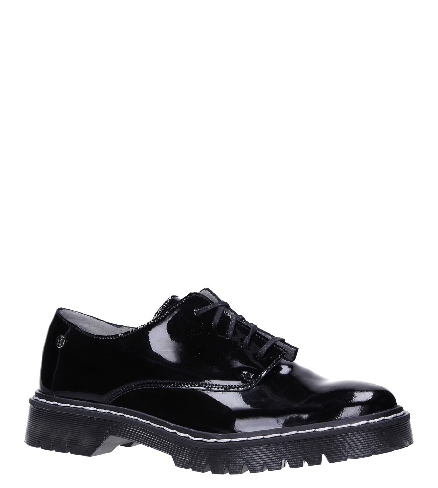 Czarne półbuty skórzane lakierowane sznurowane Maciejka 04087-61/00-5 model 04087-61/00-5