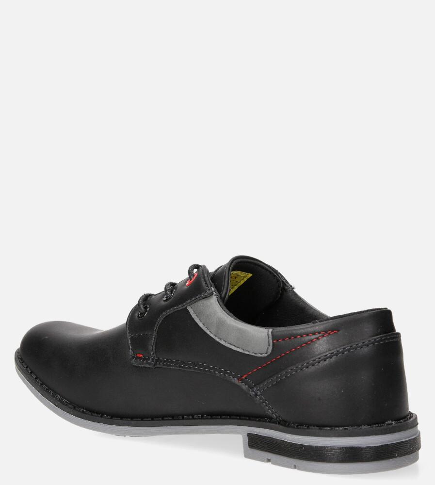 Czarne półbuty sznurowane Casu LXC363 kolor czarny