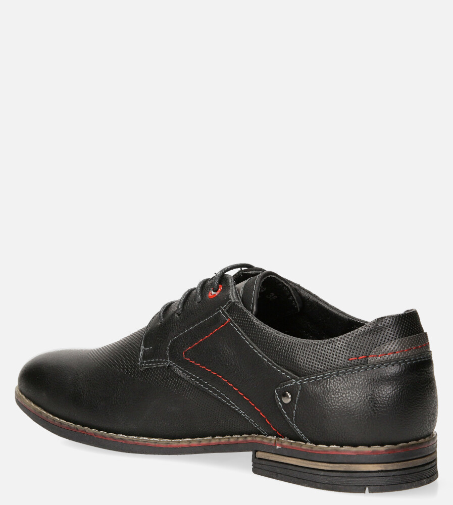 Czarne półbuty sznurowane Casu LXC429 kolor czarny