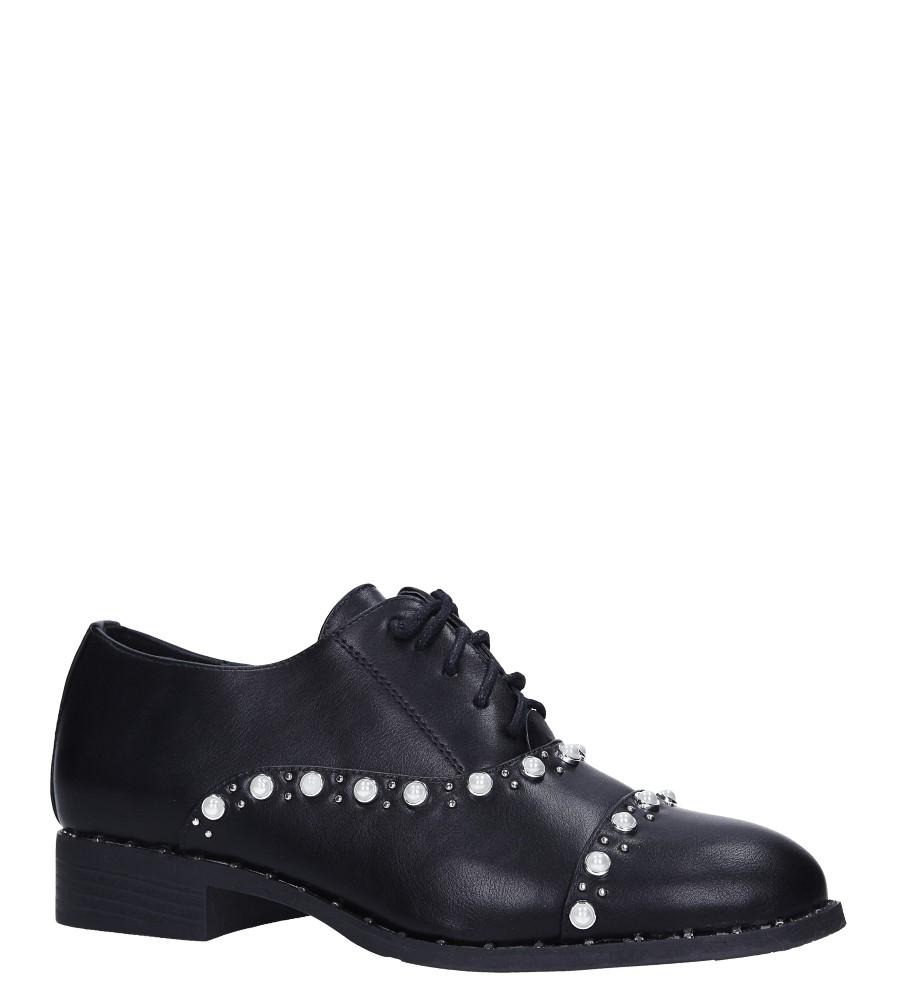Czarne półbuty sznurowane z perełkami Casu 7-X8175A