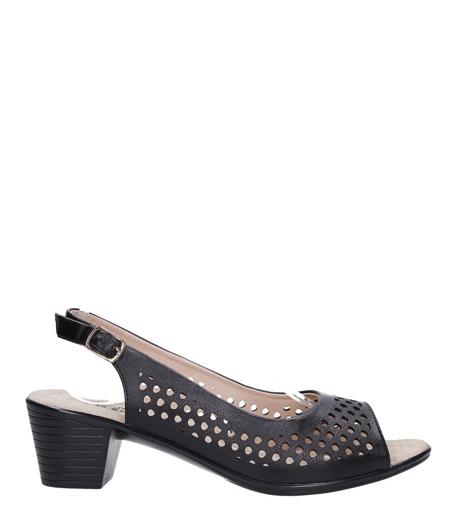 Czarne sandały ażurowe na niskim obcasie Casu L8506-1