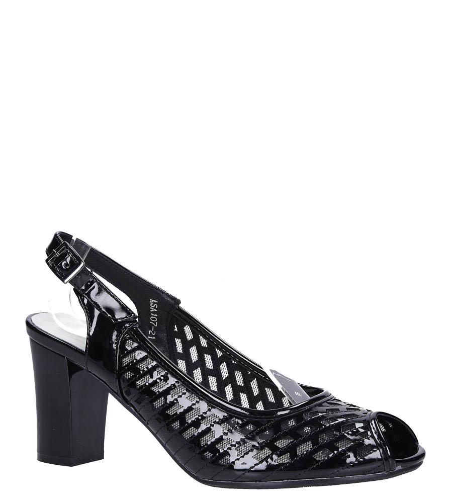 Czarne sandały ażurowe na słupku ze skórzaną wkładką Jezzi ASA107-21 czarny