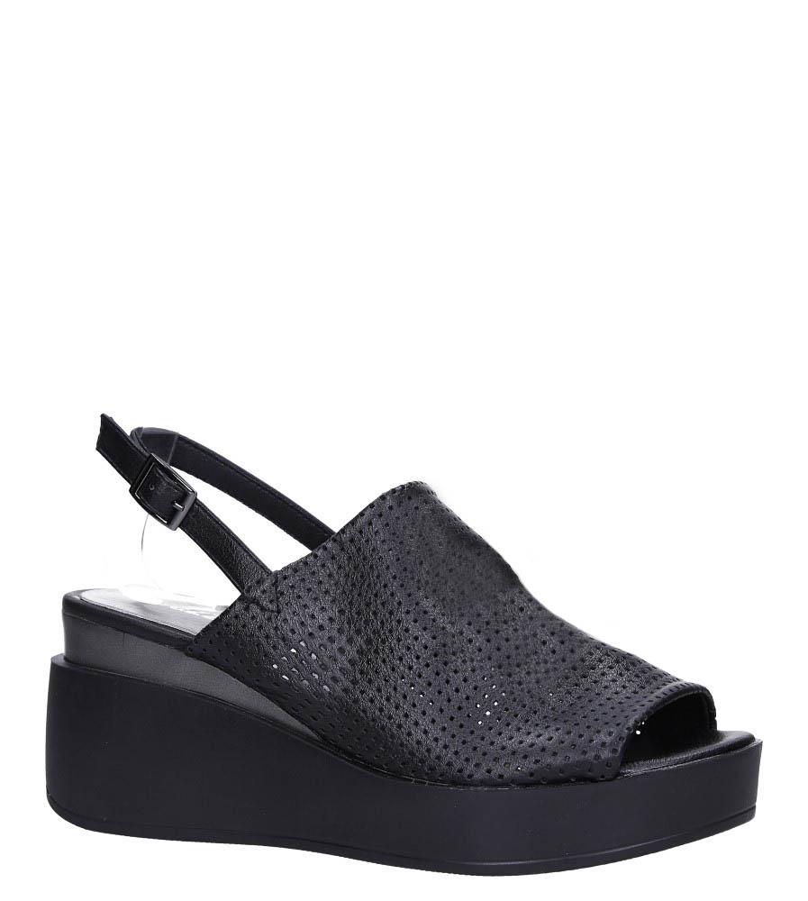 Czarne sandały ażurowe zabudowane na koturnie ze skórzaną wkładką Jezzi ASA106-9 czarny