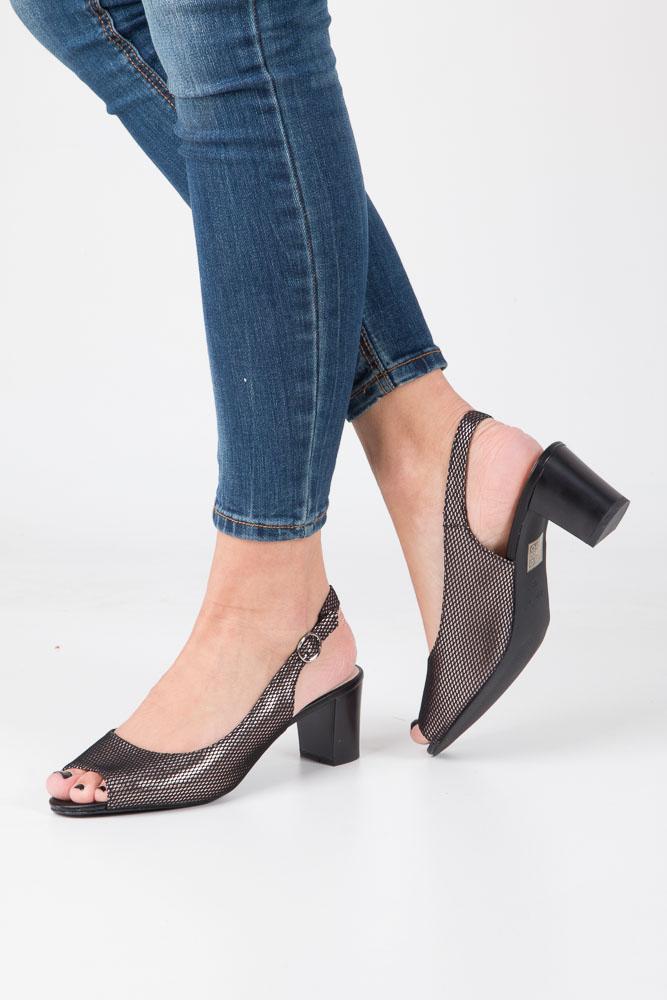 Czarne sandały błyszczące na słupku Sergio Leone SK810-01X