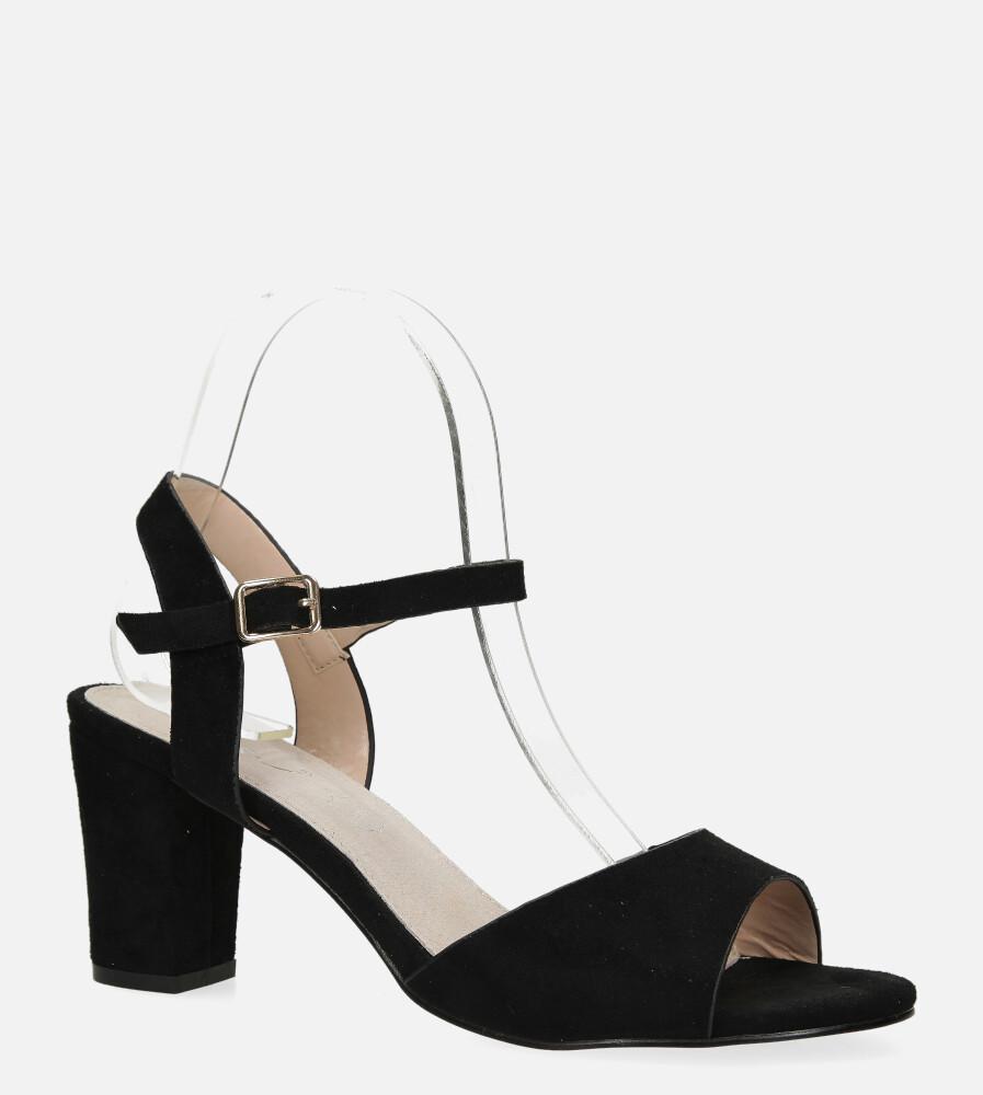 Czarne sandały Casu na słupku ze skórzaną wkładką DD19X3/B