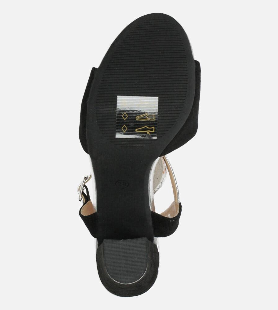 Czarne sandały Casu na szerokim słupku ER20X1/B wysokosc_obcasa 10 cm