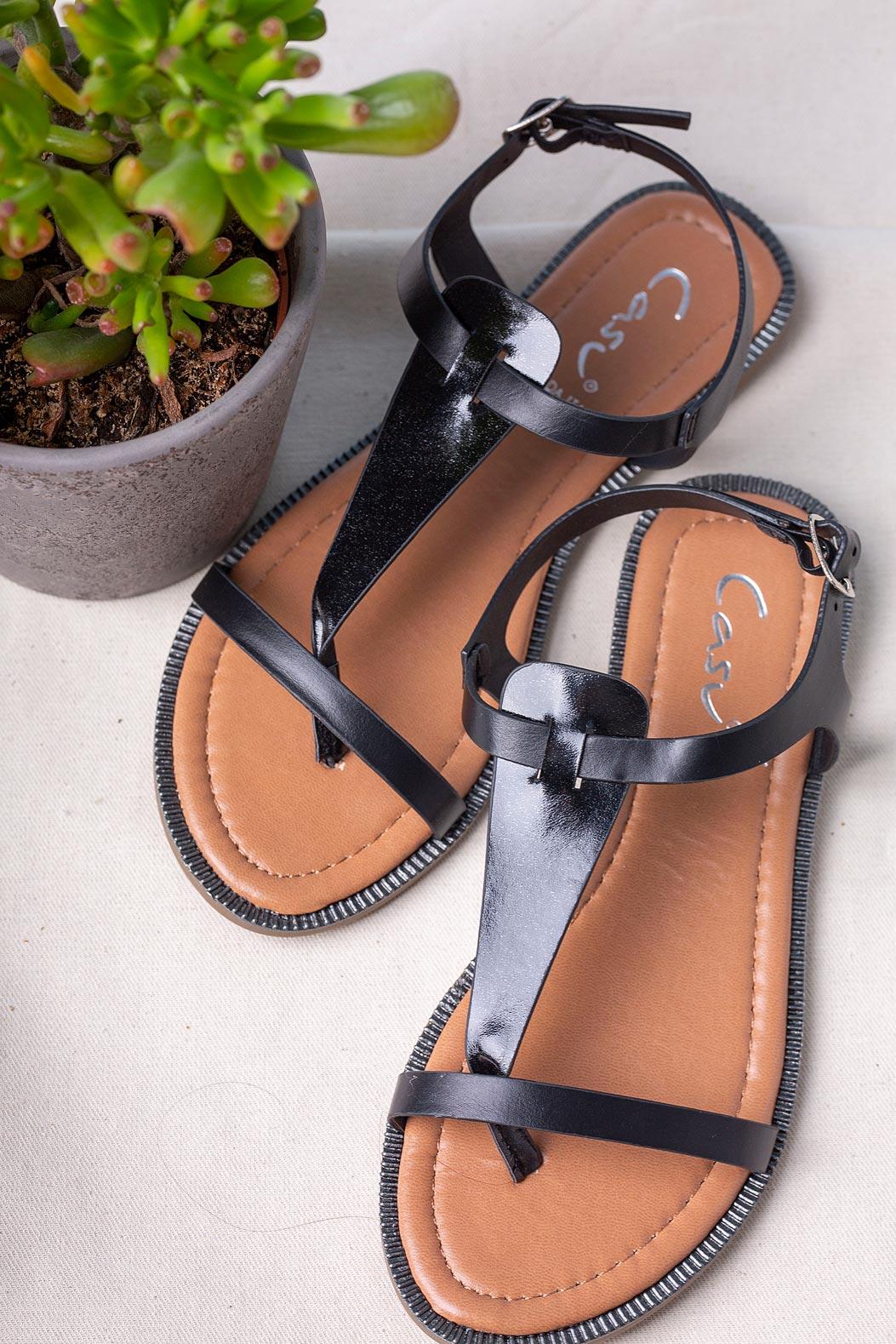 Czarne sandały japonki płaskie Casu SN20X2/B czarny