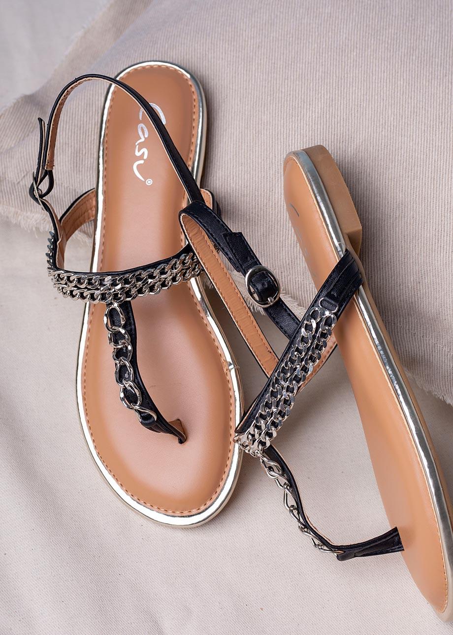 Czarne sandały japonki płaskie z ozdobnym srebrnym łańcuszkiem Casu RT20X7/B czarny