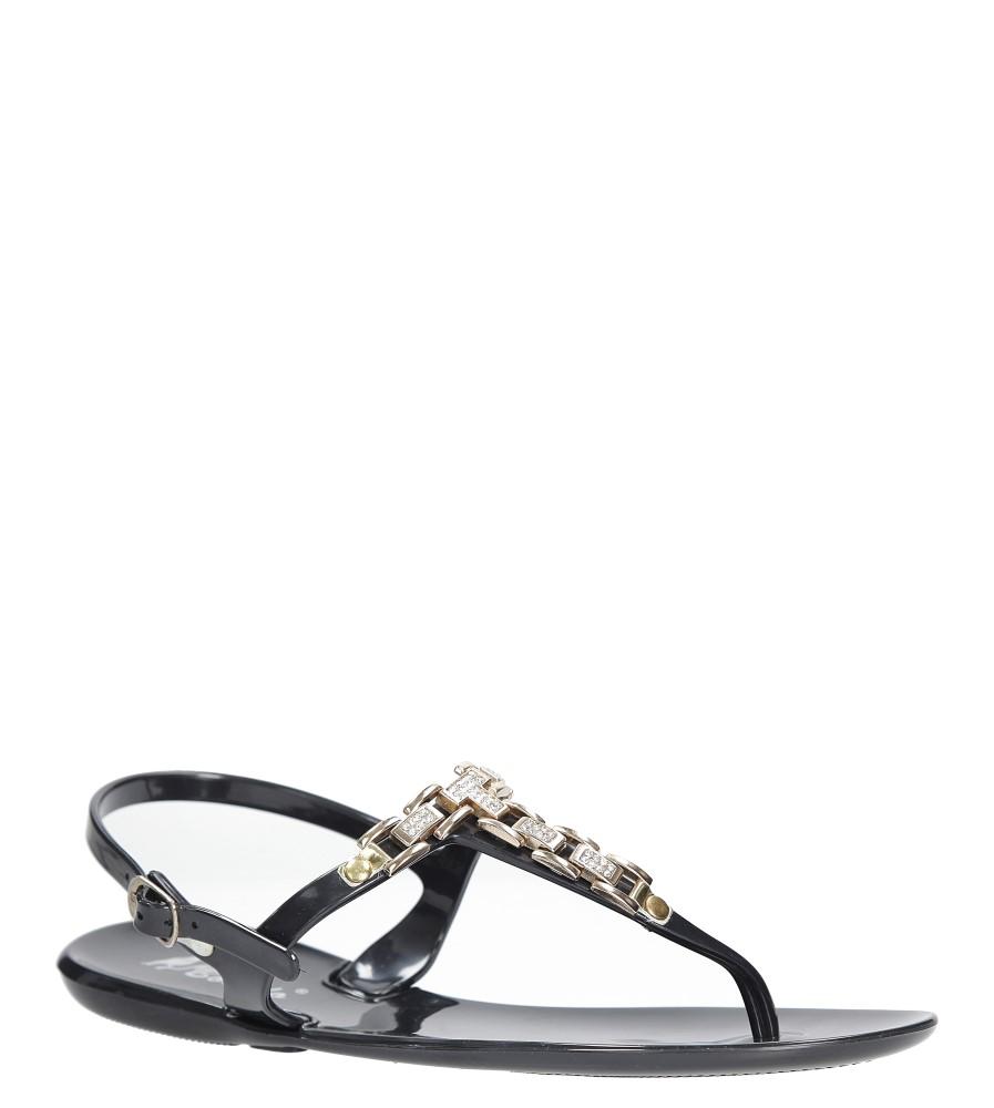 Czarne sandały japonki z cyrkoniami Casu YR18