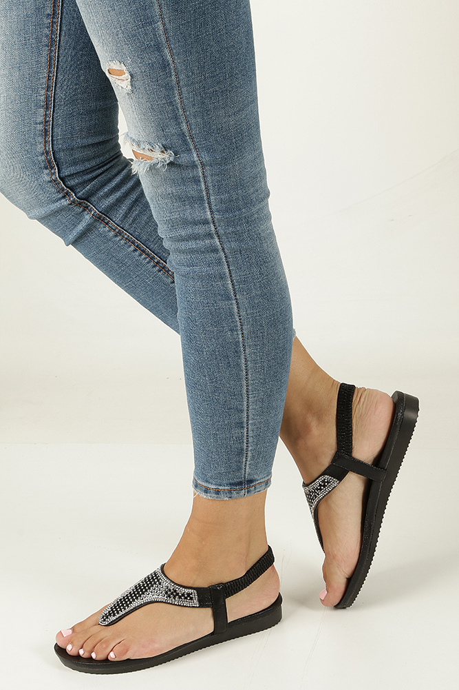 Czarne sandały japonki z kryształkami Casu WL#018
