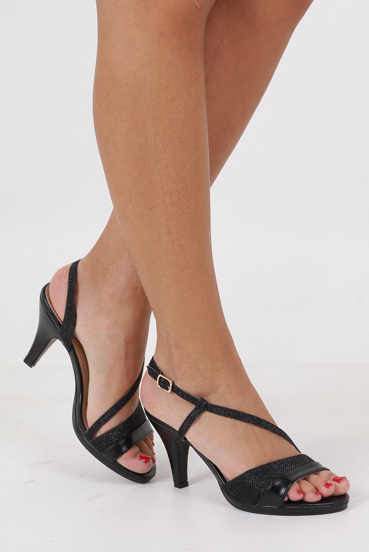 Czarne sandały karnawałowe brokatowe Casu 3464