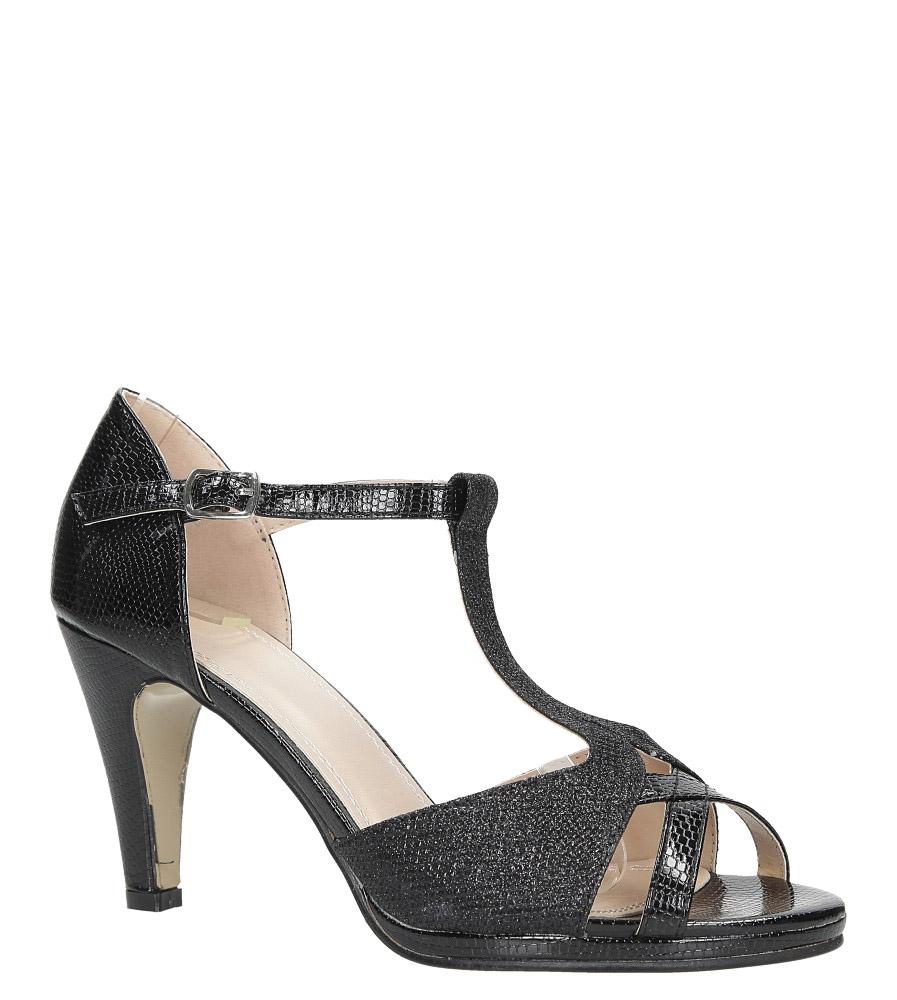 Czarne sandały karnawałowe t-bar z zakrytą piętą Casu 7-W302A