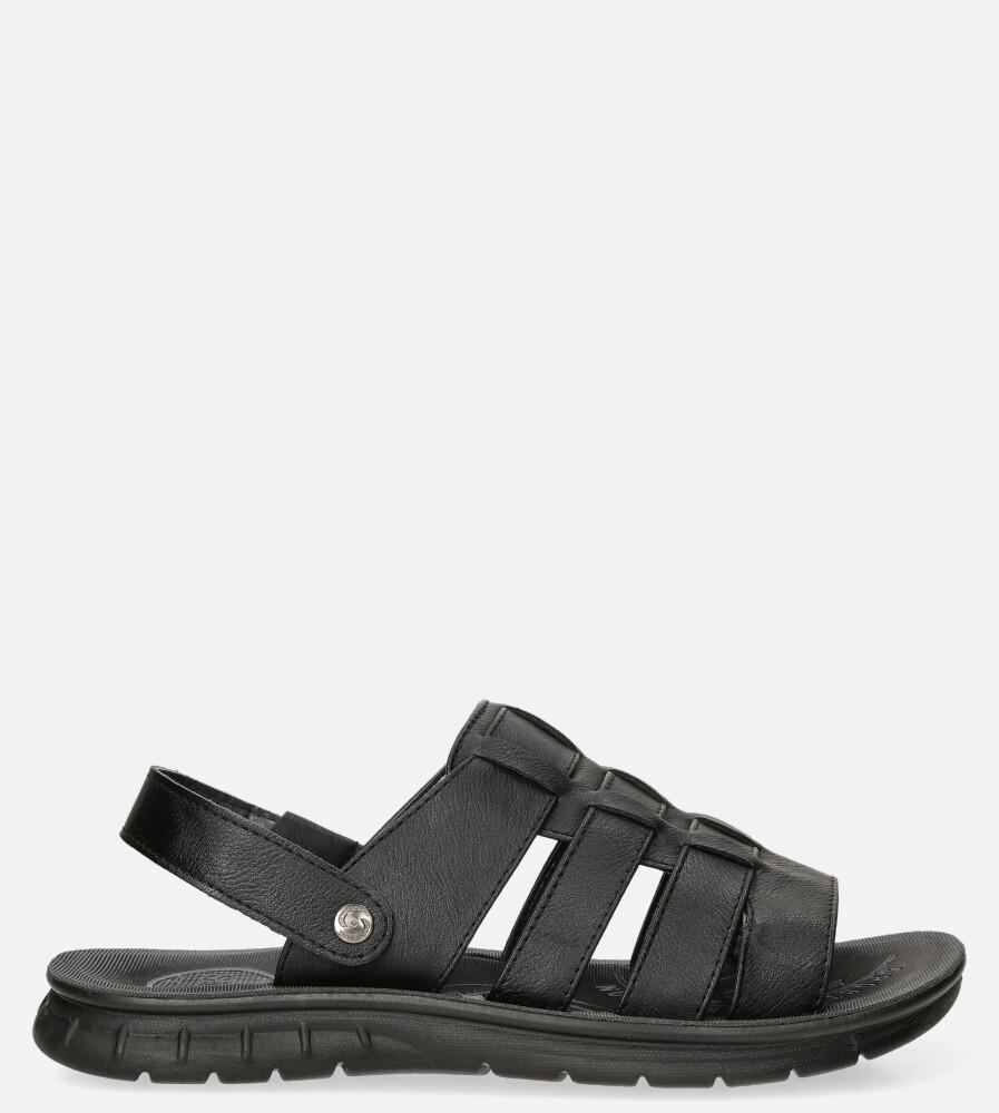 Czarne sandały klapki wsuwane Casu 278 czarny