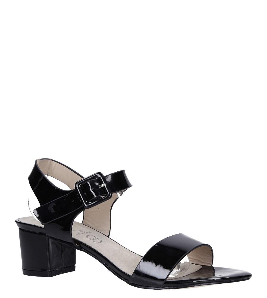 Czarne sandały lakierowane na niskim obcasie skórzana wkładka Casu R19X3/B