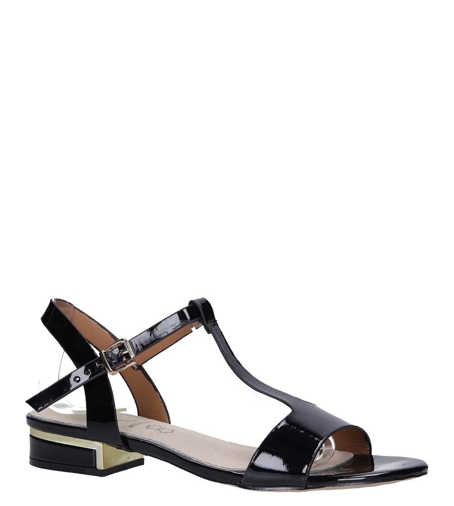 Czarne sandały lakierowane na niskim ozdobnym obcasie skórzana wkładka Casu R19X5/B
