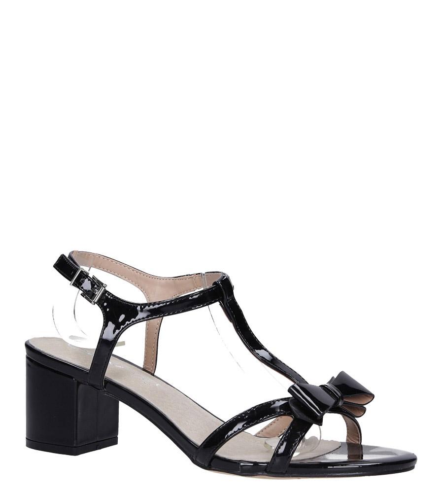 Czarne sandały lakierowane ze skórzaną wkładką na niskim obcasie kokardka Casu N19X1/B model N19X1/B