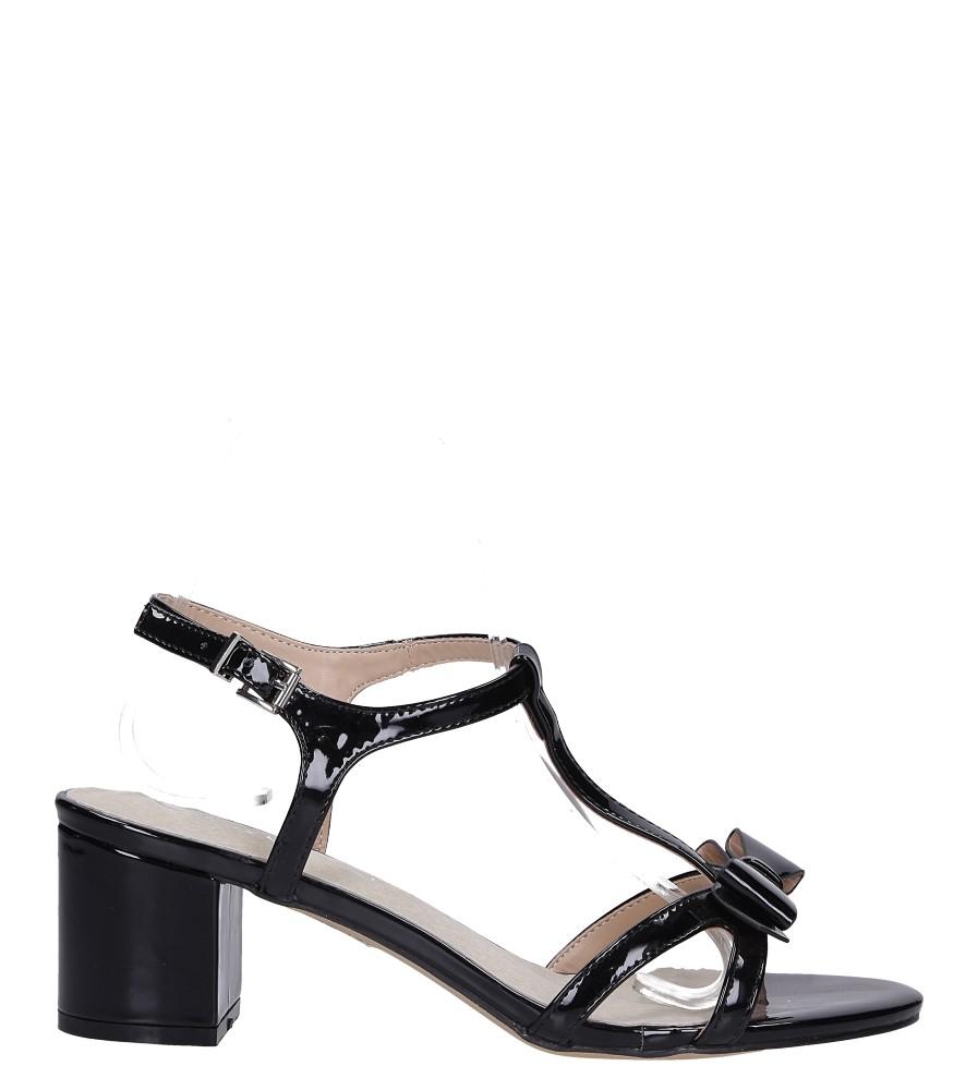 Czarne sandały lakierowane ze skórzaną wkładką na niskim obcasie kokardka Casu N19X1/B wysokosc_platformy 0.5 cm