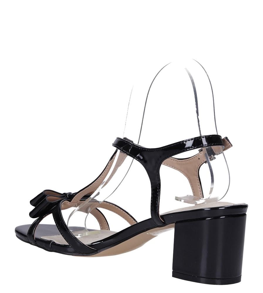 Czarne sandały lakierowane ze skórzaną wkładką na niskim obcasie kokardka Casu N19X1/B wys_calkowita_buta 11 cm