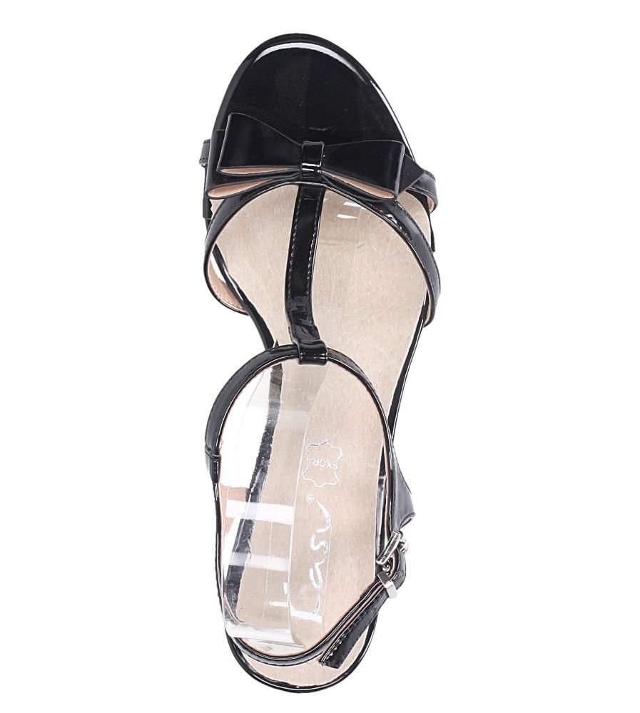 Czarne sandały lakierowane ze skórzaną wkładką na niskim obcasie kokardka Casu N19X1/B wierzch skóra ekologiczna- lakier