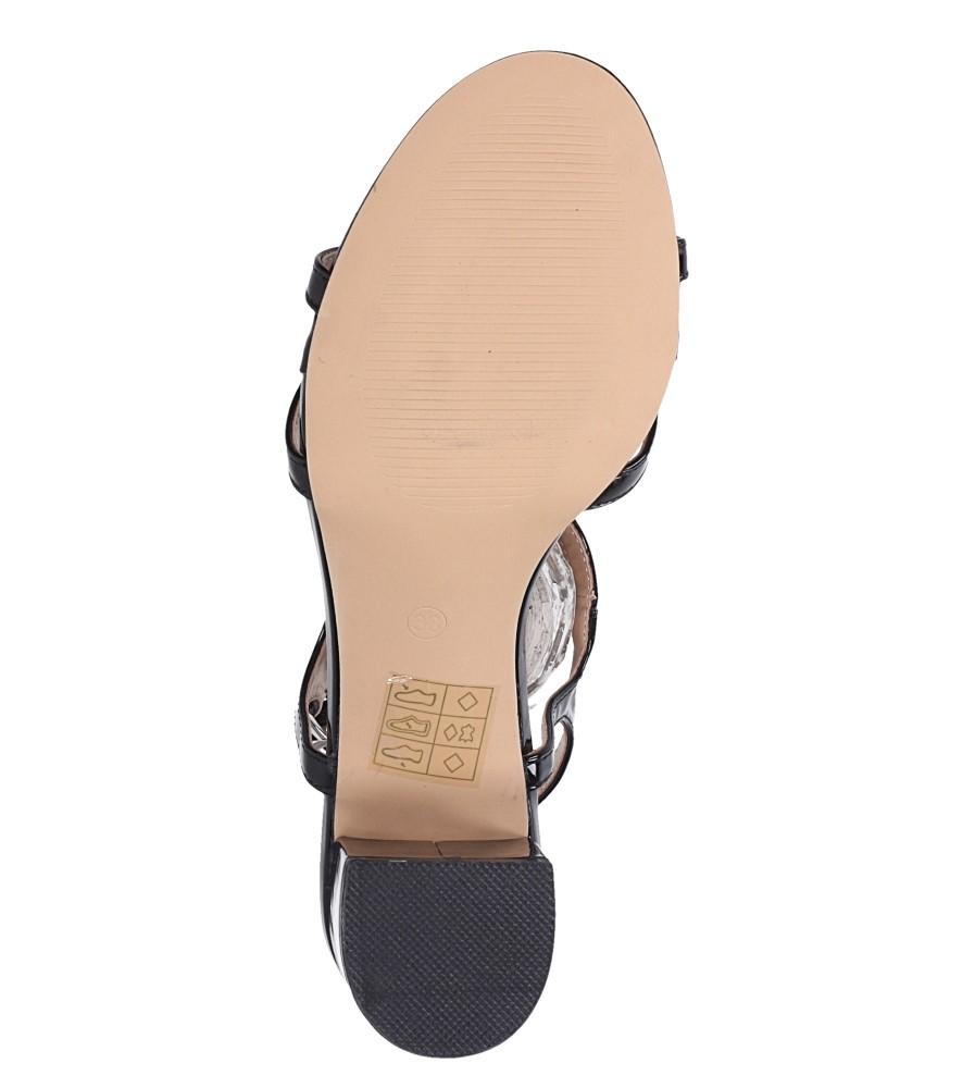 Czarne sandały lakierowane ze skórzaną wkładką na niskim obcasie kokardka Casu N19X1/B wnetrze skóra ekologiczna