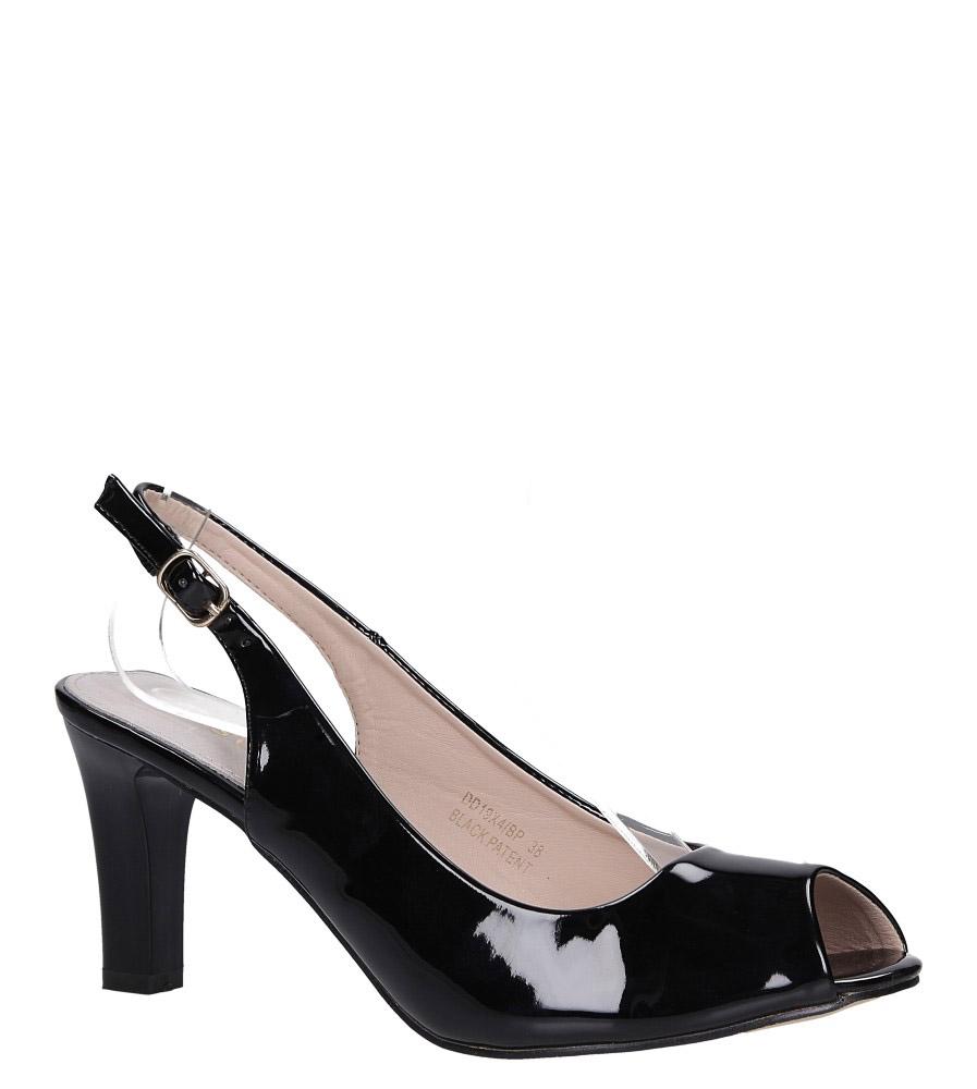 Czarne sandały lakierowane ze skórzaną wkładką na słupku Casu DD19X4/BP
