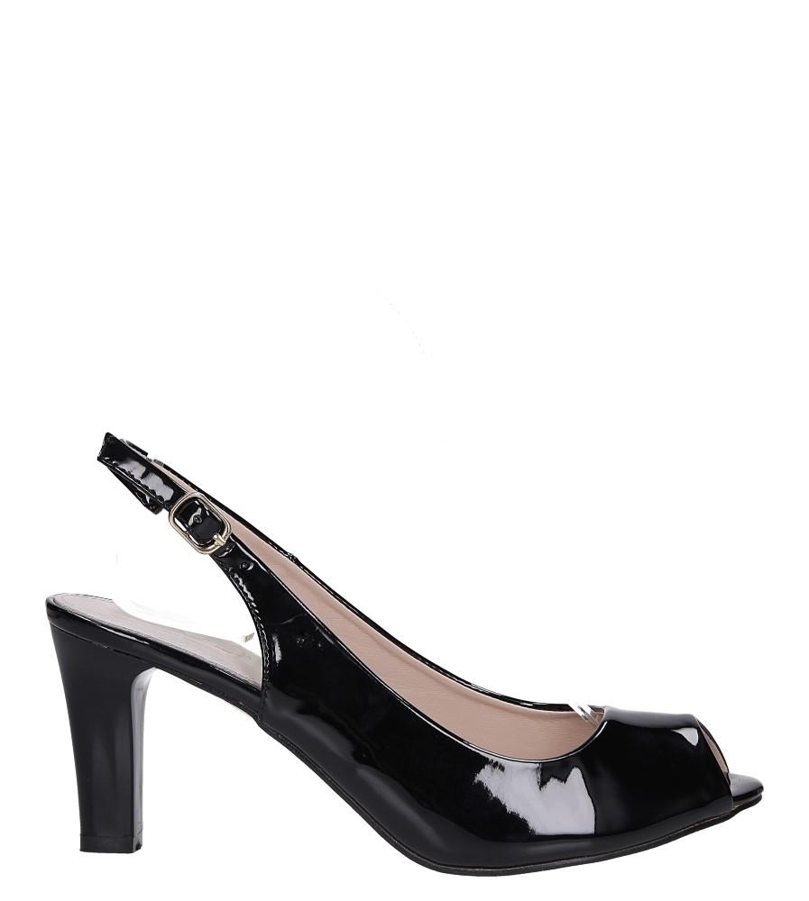 Czarne sandały lakierowane ze skórzaną wkładką na słupku Casu DD19X4/BP wysokosc_obcasa 8 cm