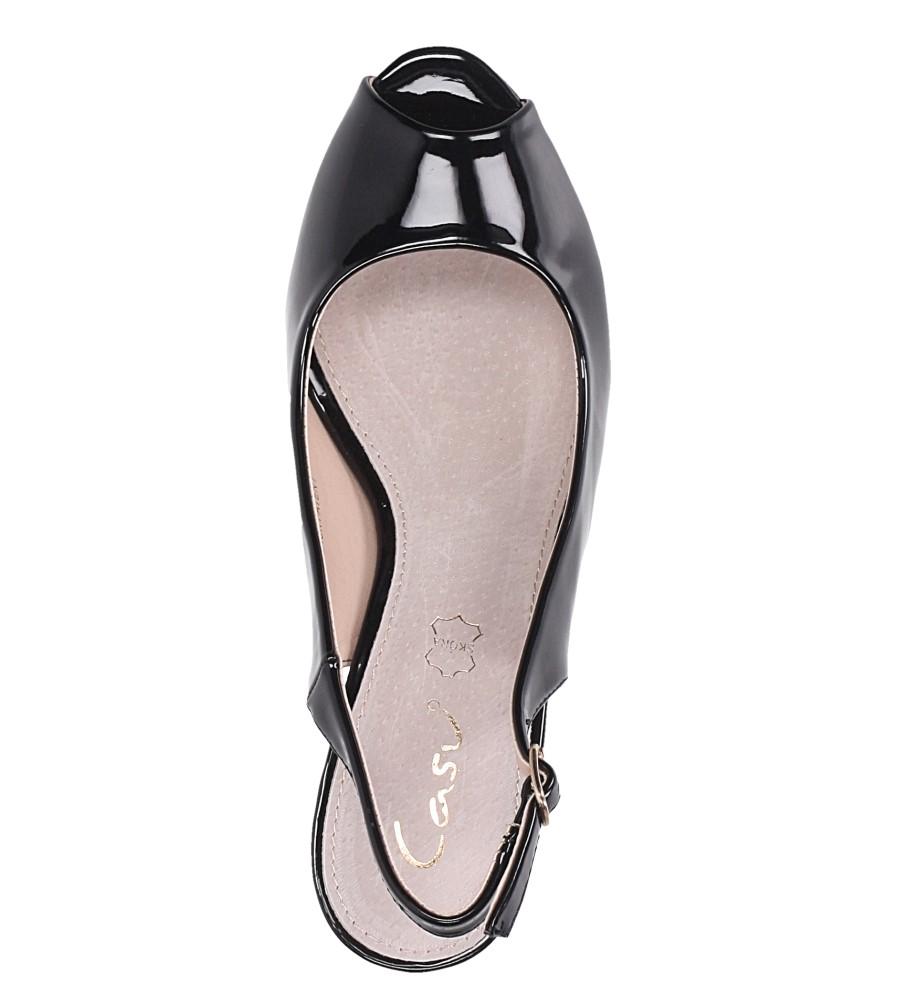 Czarne sandały lakierowane ze skórzaną wkładką na słupku Casu DD19X4/BP wys_calkowita_buta 12 cm