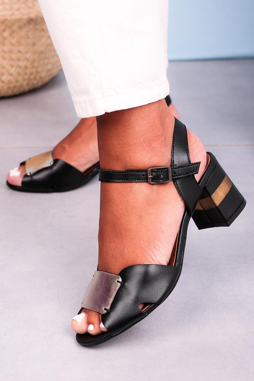 Czarne sandały Maciejka skórzane na ozdobnym obcasie 04120-01/00-5 czarny