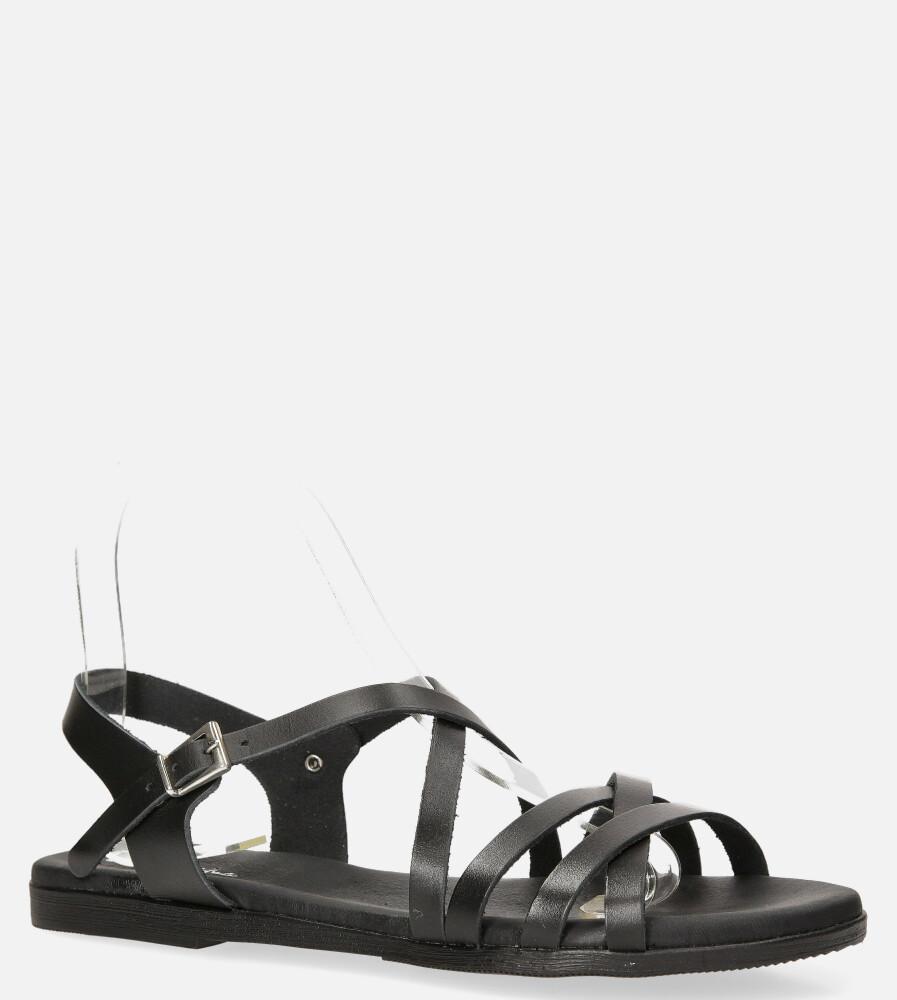 Czarne sandały Maciejka skórzane płaskie z paskami na krzyż L4640-01/00-0 czarny