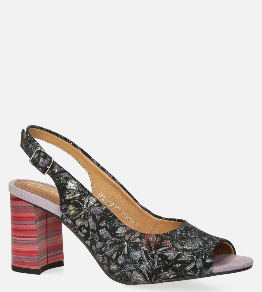 Czarne sandały Maciejka skórzane w kwiatki na ozdobnym obcasie 04237-38/00-1 czarny