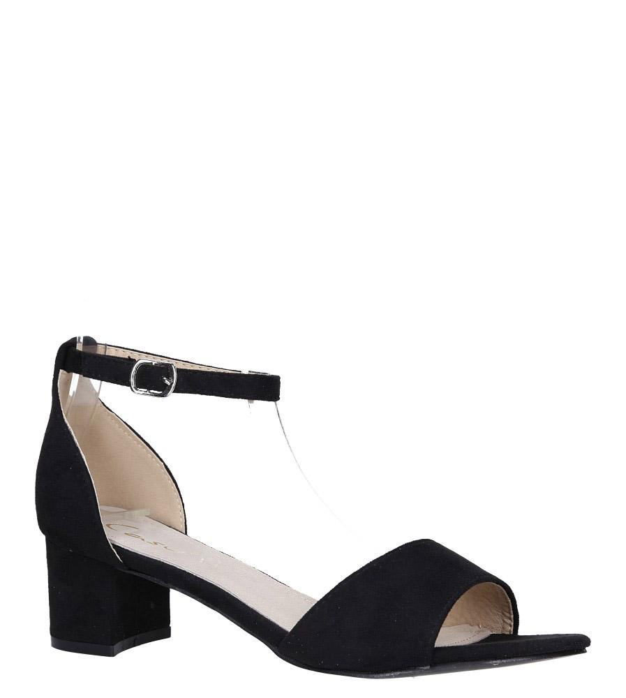 Czarne sandały na niskim obcasie ze skórzaną wkładką z zakrytą piętą pasek wokół kostki Casu K19X1/B czarny