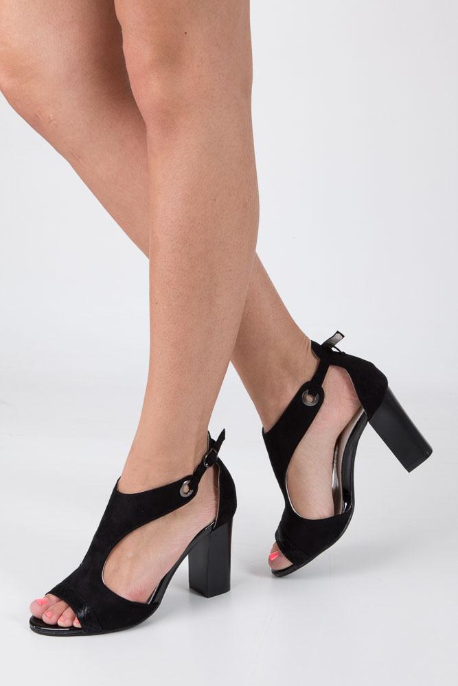Czarne sandały na obcasie Jezzi SA109-5