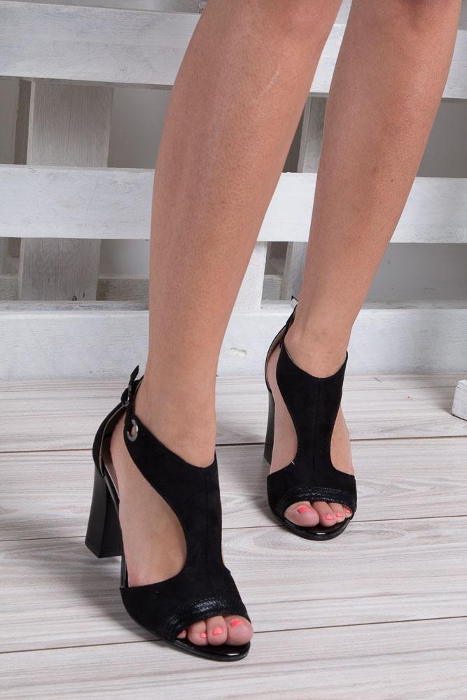 Czarne sandały na obcasie Jezzi SA109-5 material_obcasa wysokogatunkowe tworzywo