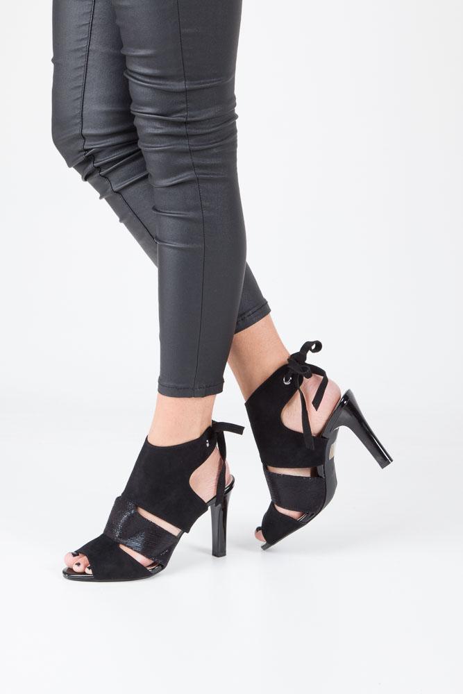 Czarne sandały na obcasie z kokardą Sergio Leone 1489
