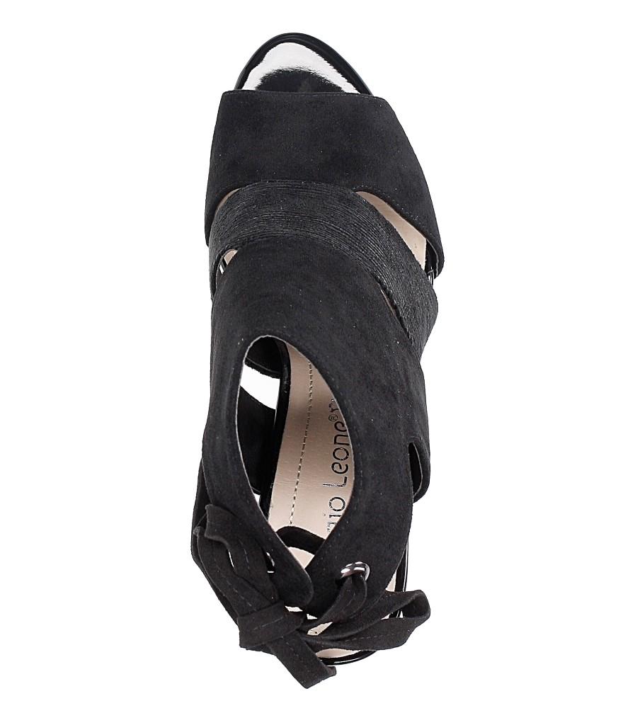 Czarne sandały na obcasie z kokardą Sergio Leone 1489 wysokosc_platformy 0.5 cm