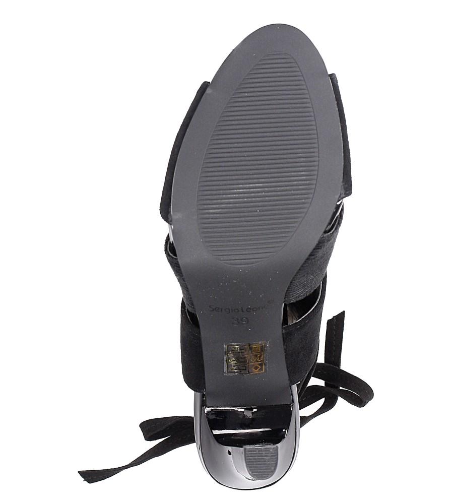 Czarne sandały na obcasie z kokardą Sergio Leone 1489 wys_calkowita_buta 18 cm